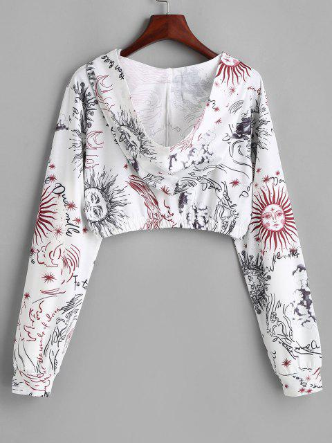women Sun and Wind Print Hooded Zip Crop Jacket - WHITE M Mobile