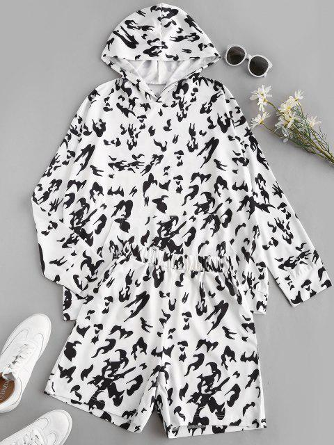 new Flame Print Front Pocket Oversized Sweat Two Piece Set - MULTI-A S Mobile