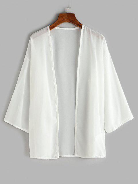 new Drop Shoulder Open Front Beach Top - WHITE M Mobile