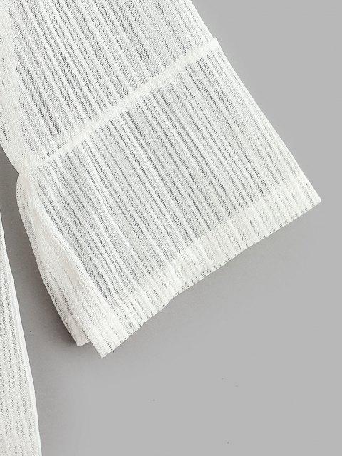 Haut Couverture Fendu Ouvert en Avant à Manches Raglan à Lacets - Blanc M Mobile