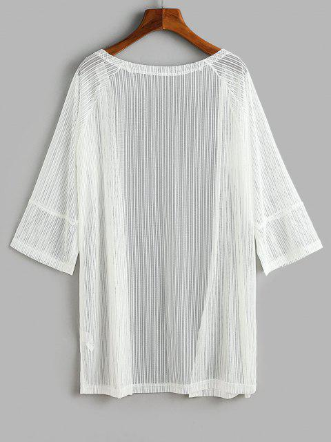 latest Slit Cuffs Raglan Sleeve Open Front Lace Cover Up Top - WHITE L Mobile