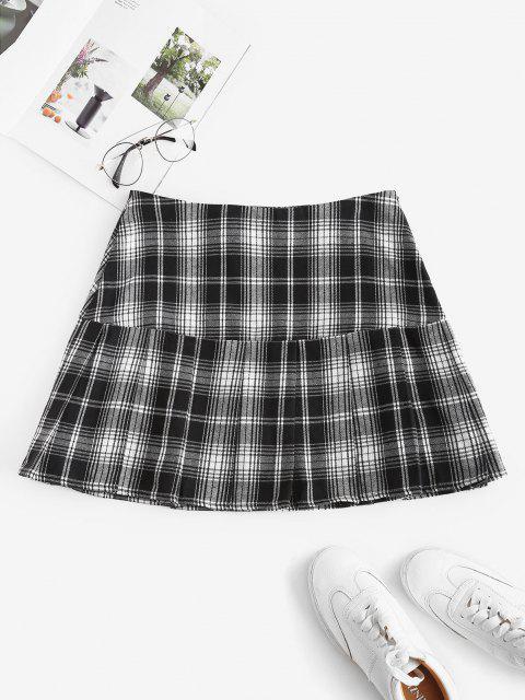 affordable ZAFUL Plaid Pleated Flounce Hem Skirt - BLACK M Mobile