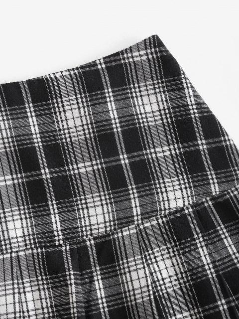 best ZAFUL Plaid Pleated Flounce Hem Skirt - BLACK L Mobile