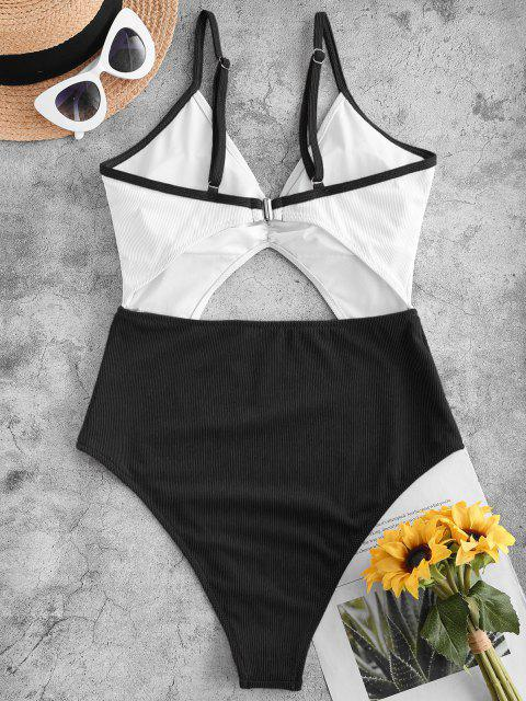 outfits ZAFUL Ribbed Cutout Two Tone One-piece Swimsuit - BLACK S Mobile