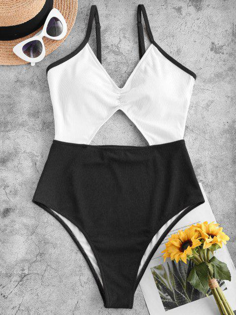 trendy ZAFUL Ribbed Cutout Two Tone One-piece Swimsuit - BLACK M Mobile