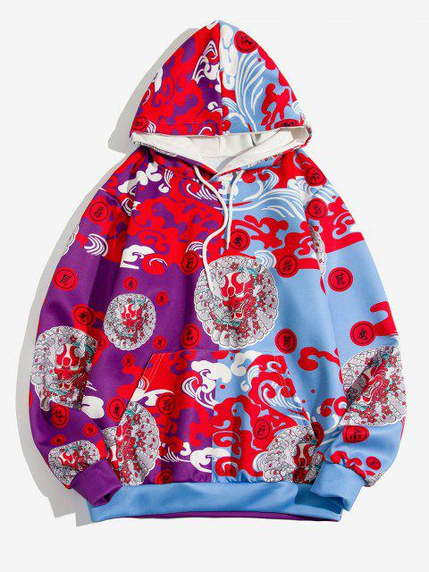 fancy Chinoiserie Devil Pattern Two Tone Hoodie - RED 2XL Mobile