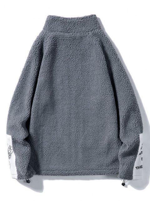 hot Letter Applique Raglan Sleeve Teddy Jacket - SLATE GRAY 2XL Mobile