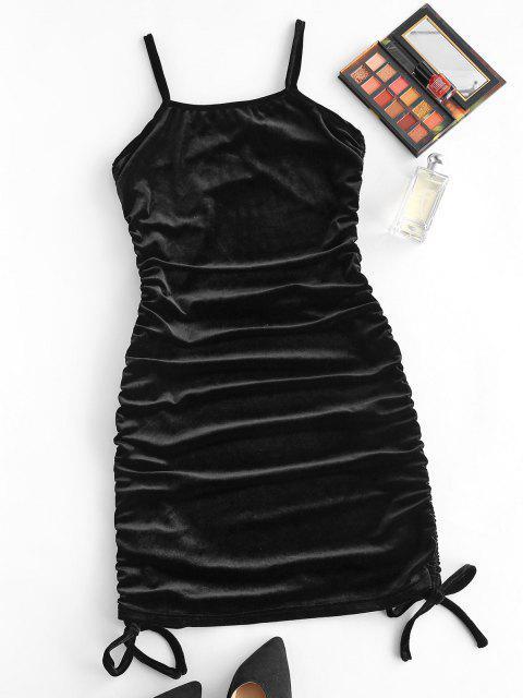 sale Cami Velvet Cinched Side Mini Dress - BLACK M Mobile