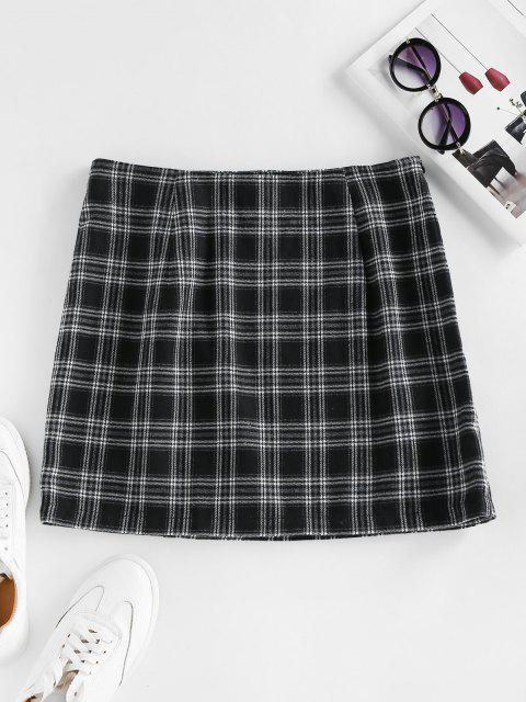 chic ZAFUL Plaid Buckle Zip Mini Skirt - BLACK L Mobile