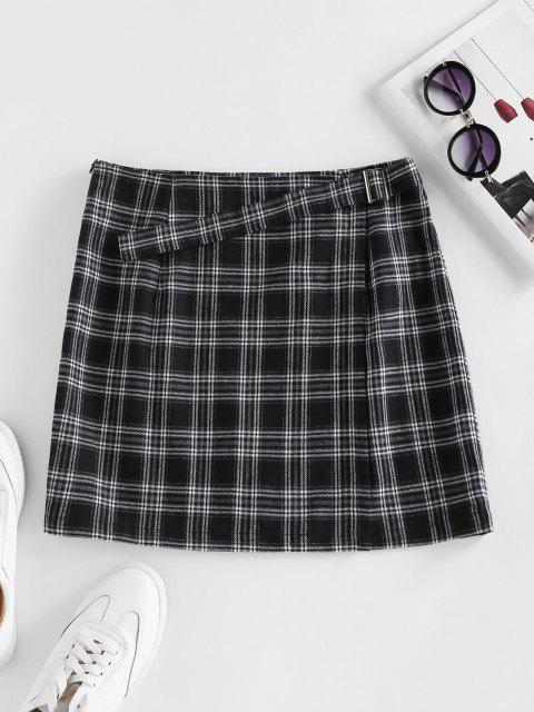 online ZAFUL Plaid Buckle Zip Mini Skirt - BLACK S Mobile