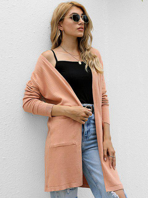 womens Open Front Dual Pocket Ribbed Cardigan - COFFEE ONE SIZE Mobile