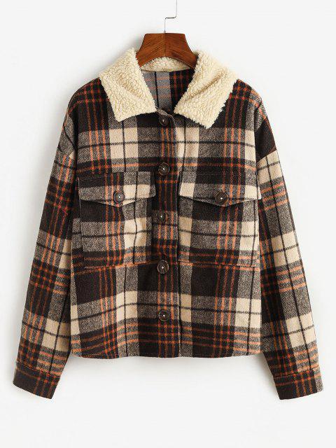 ZAFUL Plaid Flap Pockets Faux Fur Collar Jacket - قهوة S Mobile