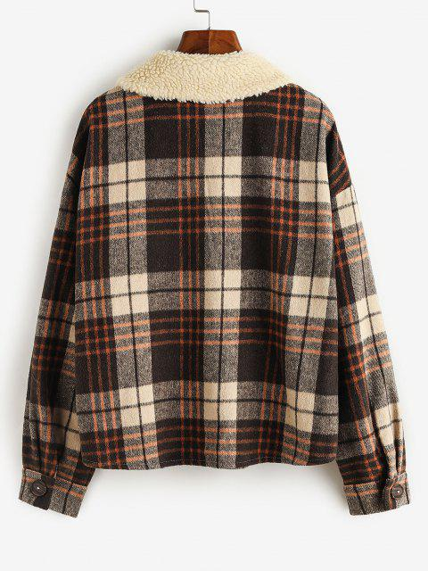 chic ZAFUL Plaid Flap Pockets Faux Fur Collar Jacket - COFFEE M Mobile