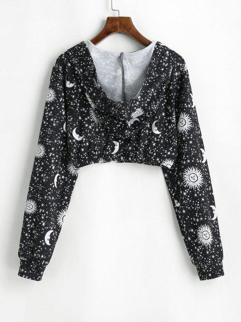 Moon Sun and Star Zip Hooded Crop Jacket - أسود XL Mobile