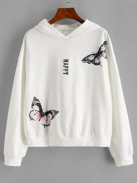 trendy ZAFUL Drop Shoulder Happy Butterfly Hoodie - WHITE S Mobile