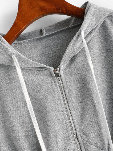 chic ZAFUL Zip Up Drawstring Cropped Hoodie - GRAY GOOSE M Mobile