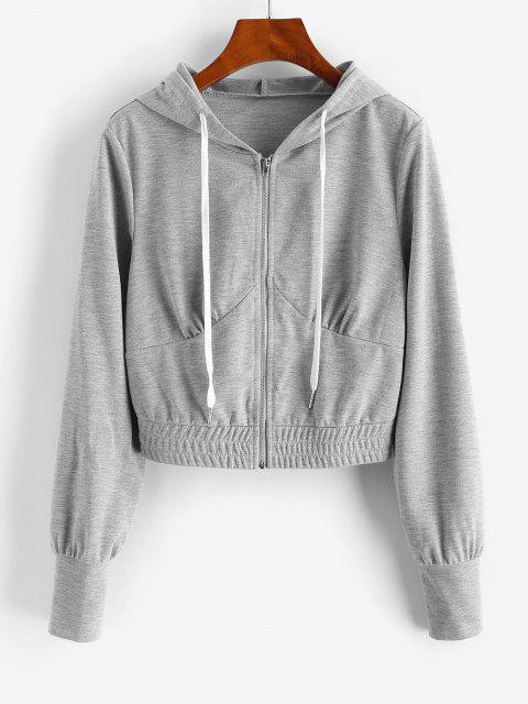 hot ZAFUL Zip Up Drawstring Cropped Hoodie - GRAY GOOSE S Mobile