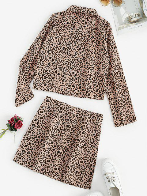 lady Leopard Button Up Jacket and Mini Skirt Set - LIGHT PINK S Mobile
