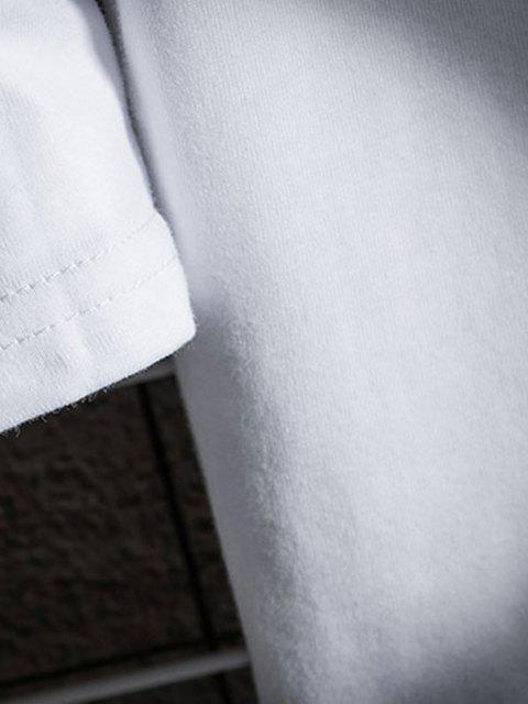 Camiseta Cuello V Manga Larga Diseño Gráfico Dinosaurio - Blanco S Mobile