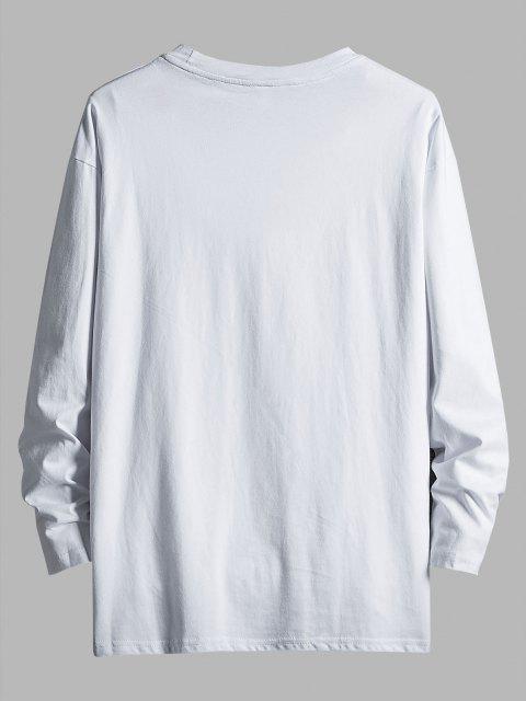 Rainy Dinosaur Graphic Drop Shoulder Long Sleeve T Shirt - أبيض XS Mobile