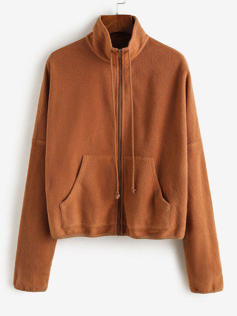 ZAFUL Taschen Hängender Schulter Vlies Mantel - Tiger Orange M Mobile