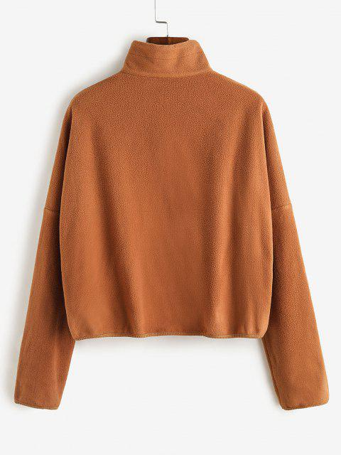 ZAFUL Pockets Drop Shoulder Fleece Coat - النمر البرتقالي M Mobile