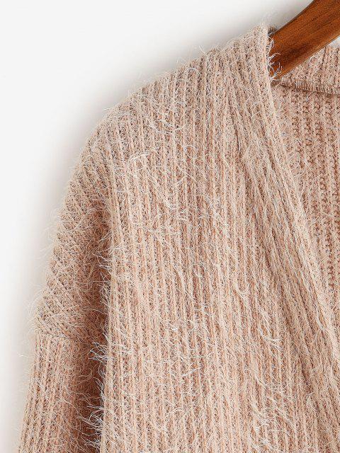 women ZAFUL Button Up Fluffy Eyelash Cardigan - KHAKI ROSE S Mobile