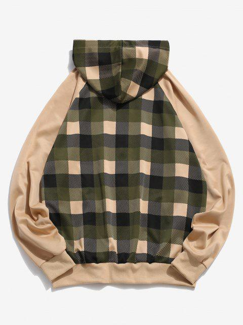hot Plaid Print Raglan Sleeve Zip Up Hoodie - KHAKI XL Mobile