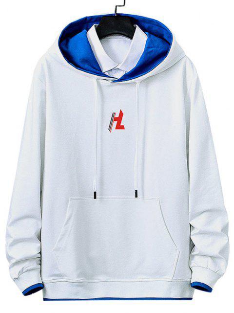 Känguru Tasche Buchstaben Gedruckt Kontrast Hoodie - Weiß S Mobile