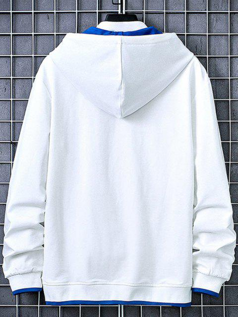 fashion Kangaroo Pocket Letter Printed Contrast Hoodie - WHITE S Mobile