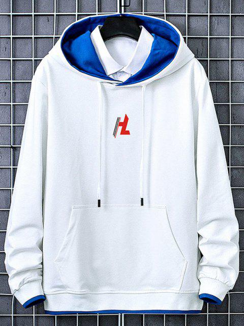 unique Kangaroo Pocket Letter Printed Contrast Hoodie - WHITE L Mobile