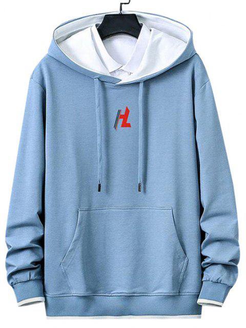 hot Kangaroo Pocket Letter Printed Contrast Hoodie - LIGHT BLUE L Mobile