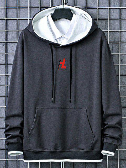 latest Kangaroo Pocket Letter Printed Contrast Hoodie - CARBON GRAY S Mobile