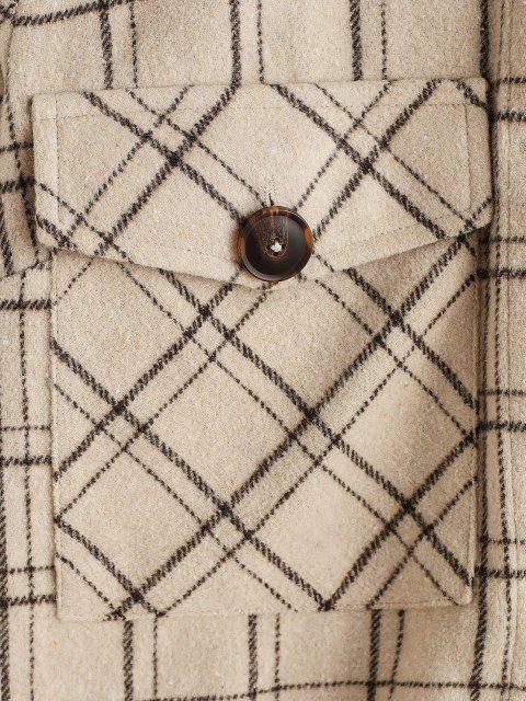ZAFUL Taschen Tunika Mantel mit Karomuster - Helles Khaki XL Mobile