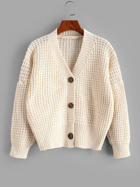 latest Drop Shoulder V Neck Chunky Cardigan - WHITE ONE SIZE Mobile