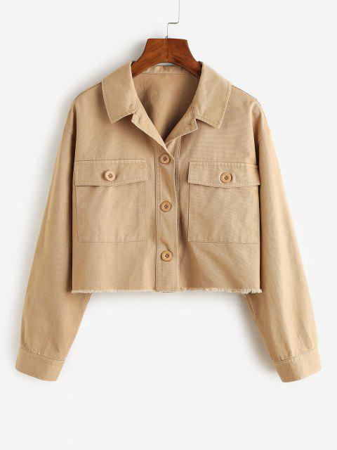 ZAFUL Frayed Front Pockets Cropped Jacket - كاكي L Mobile