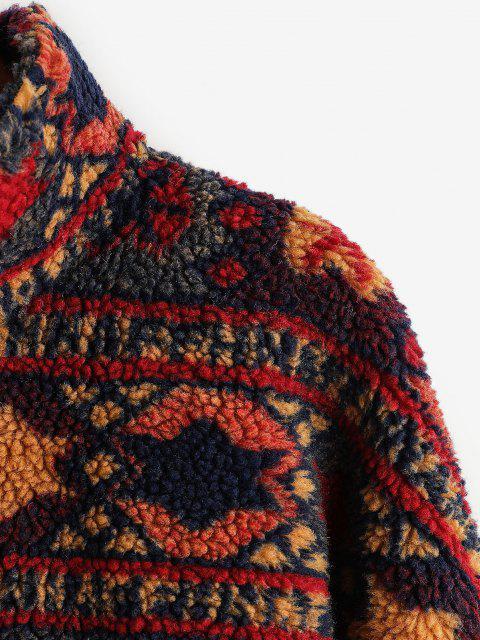 womens ZAFUL Tribal Print Short Teddy Coat - FIREBRICK L Mobile