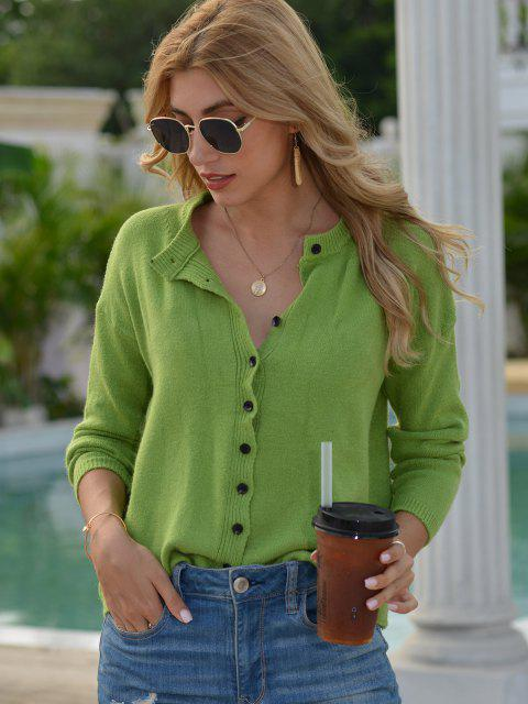 best Ribbed Trim Button Up Crew Neck Cardigan - DEEP GREEN ONE SIZE Mobile