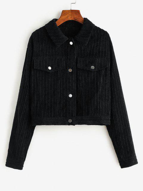 ZAFUL Corduroy Flap Detail Cropped Jacket - أسود S Mobile