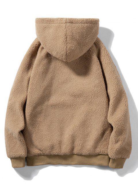 Buchstabe Gestickter Känguru Taschen Teddy Hoodie - Khaki XL Mobile