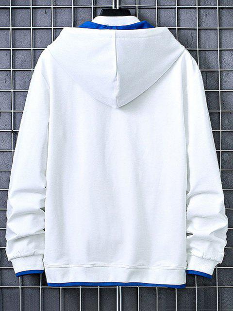 ladies Letter Print Kangaroo Pocket Contrast Pullover Hoodie - WHITE L Mobile