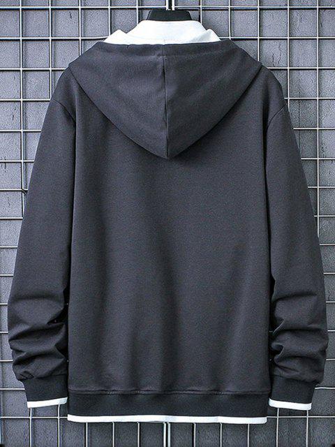 hot Letter Print Kangaroo Pocket Contrast Pullover Hoodie - CARBON GRAY L Mobile