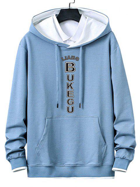 fashion Letter Print Kangaroo Pocket Contrast Pullover Hoodie - LIGHT BLUE XS Mobile