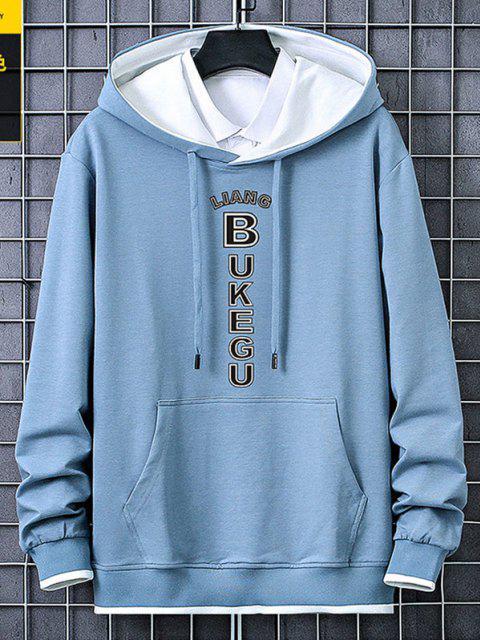 women Letter Print Kangaroo Pocket Contrast Pullover Hoodie - LIGHT BLUE M Mobile