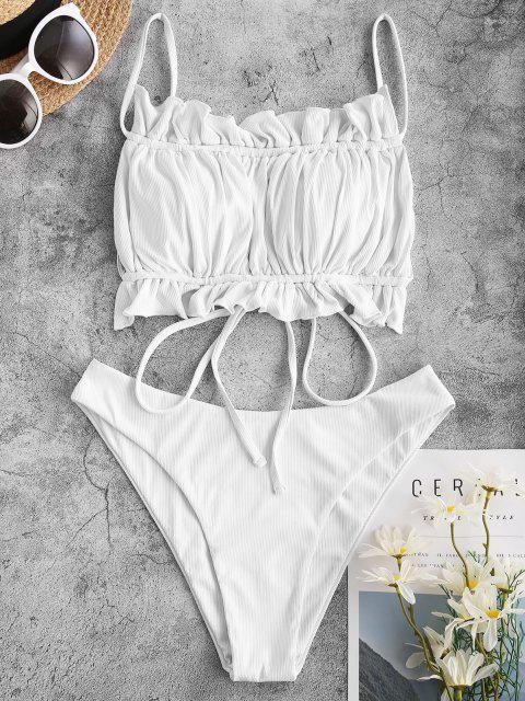 ZAFUL Gerippte Bikini Badebekleidung mit Rüschen - Weiß M Mobile