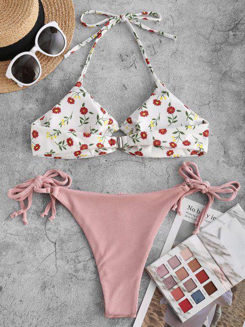 ZAFUL Maillot de Bain Bikini Côtelé Fleuri Bague en O - Rose Léger  M Mobile