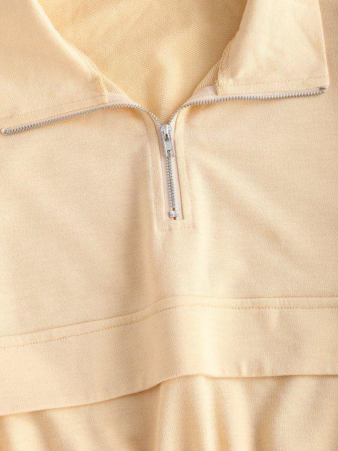 latest ZAFUL Pocket Half Zip Drop Shoulder Joggers Set - LIGHT COFFEE XL Mobile