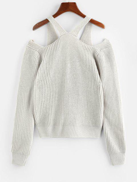 ZAFUL Offener Schulter Ausschnitt Strukturierter Pullover - Hellgrau M Mobile