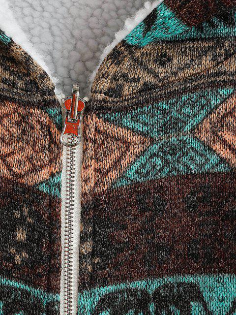 hot ZAFUL  Hooded Tribal Print Faux Fur Lined Coat - DEEP BROWN M Mobile