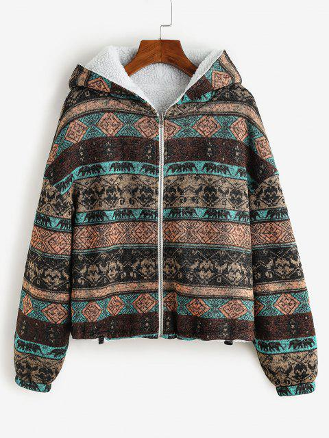 affordable ZAFUL  Hooded Tribal Print Faux Fur Lined Coat - DEEP BROWN L Mobile